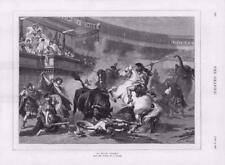1878-ANTIQUE PRINT Fine Art Bull Fight Wagner Chevaux Romains Spears (127)