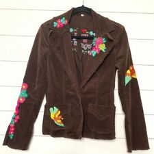 Johnny Was Brown Floral Embroidered Jacket Size XS Women's