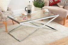 Anikka Coffee Table Chrome Stand Glass Top