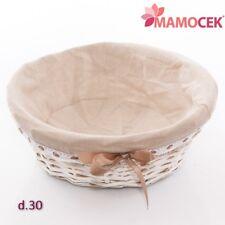 CESTINO vimini bianco vaschetta foderato Ecrù tond contenitore confezioni Shabby
