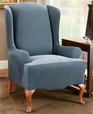 Sure Fit Stretch Stripe Wing Chair Slipcover - Navy