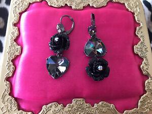 Betsey Johnson Black Glitter Rose Grey Hematite Crystal Oil AB Heart Earrings