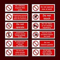 ForkLifts / Men At Work / Guards / Machine / Unauthorised- Plastic Sign, Sticker