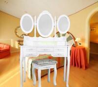 Classique Coiffeuse Blanche 3 Miroir Ovale 7 Tiroirs Tabouret Chambre à Coucher