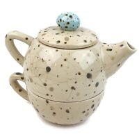Marjolein Bastin Robin's Egg Blue Speckled Stacking Ceramic Teapot & Cup Set