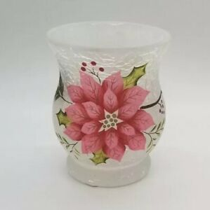 Yankee Candle - FROSTED Poinsettia CRACKLE GLASS HURRICANE Votive Candle Holder