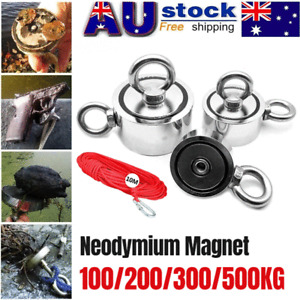 100-500KG Double Sided Magnet Fishing Kit Gloves Rope Grappling Hook Xmas Gift