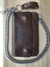 Brown Genuine Leather Wallet w/Carry Chain and Zippered Design Distressed