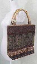 Vintage Tapestry Bag Tote Shopper Bamboo Handles Needle Point Purse Handbag