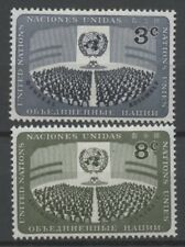 No: 61673 - UNITED NATIONS - LOT OF 2 OLD STAMPS - MINT LIGHT HINGED!!