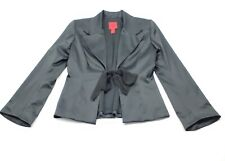 JS Collections Womens Satin Tie Front Lined Blazer Jacket Black Size 8