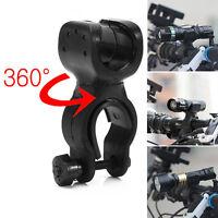 360°Rotation Torch Clip Mount Bicycle Bike Light Flashlight Holder Bracket Black