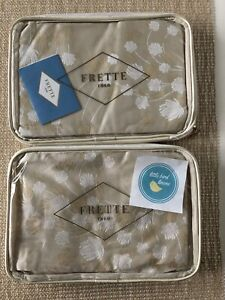 TWO  FRETTE King Shams Cardo Arredo Khaki Gold Brand New FF Pristine Italy
