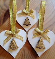 3 X Handmade Christmas Decorations Shabby Chic Wood Heart Tree Bows Gold Glitter
