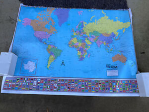 """MAP OF THE WORLD  50"""" X 38"""" - POSTER / PRINT (WORLD MAP WITH FLAGS  New - 2001"""