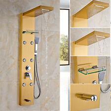 Luxury Golden Shower Panel Bathroom Tub Shower Panel Rain&Waterfall Mixer Tap