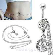 14G Crystal Peace Sign Navel Belly Ring With Waist Chain Body Jewelry Piercing