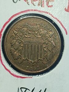 1864 Two Cent Piece 2c HIGHER GRADE COIN civil war era