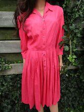 Vtg 50s 60s Mod Hot Barbie Pink SILK Midi Picnic Day Shirt Dress Full Skirt M L