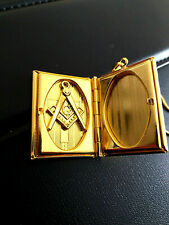 Masonic. Gold Plated.Volume of the Sacred Law Pendant,Picture Frame WITH CHAIN !