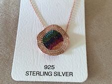 ROSE GOLD PLATING CITRINE RUBY SAPPHIRE EMERALD TURQUOISE & CZ  NECKLACE