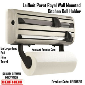 Leifheit Parat Royal Wall Mounted Kitchen Roll Holder Pulling Out, Cutting 25660