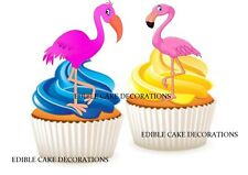30 FLAMINGO PINK STAND UP Cupcake Cake Toppers Edible Paper Decorations