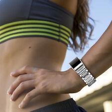 Kristall Edelstahl Ersatz Armband Austausch Wrist Magnet Fitbit Charge 2 Silber