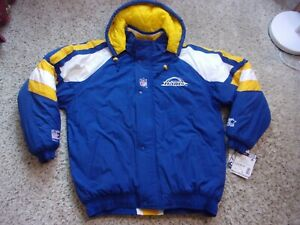 NWT~Vintage St.Louis Rams Starter NFL Pro Line Quilted Jacket~Zip Off Hood~L