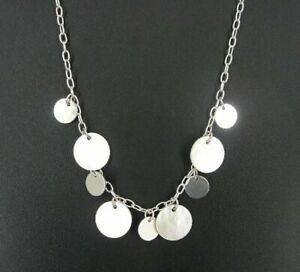 Necklace Silver Mother of Pearl Round Circle Sterling Silver 925 Dangle NECKLACE