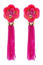 KATE SPADE Rosy Posies Gold Plated Fuchsia Color Tassel Earrings