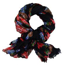 Ella Jonte Schal schwarz rot blau grün braun Blumen leichter bunter Damenschal