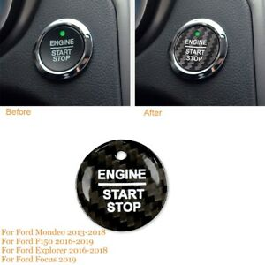 Carbon Fiber Start Stop Push Button Cover For Ford F150 Explorer Mondeo 2016-18