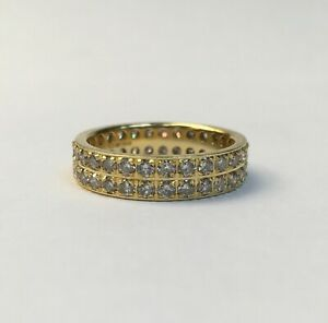 Ladies 18ct Gold Double Row Eternity Ring - Size K1/2 - 166006