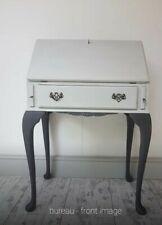 Vintage Queen Anne Legs Hand Painted Earl Grey and Noir Writing Bureau/desk