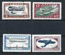 LATVIA , 1933 , scarce very nice ZEPPELIN SET , MH ( one stamp fault )
