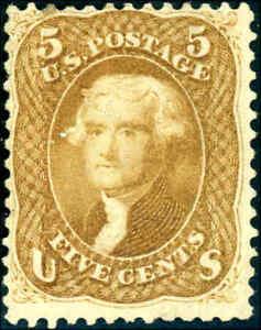 1861 5¢ BUFF #67 OG FULL GUM  EXTREMELY SCARCE CAT $27,500+ CERT