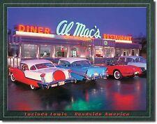 "Al Mac'S Diner Drive In Hot Rods Corvette Beach Surfboard 12.5""X16"" Metal Sign"