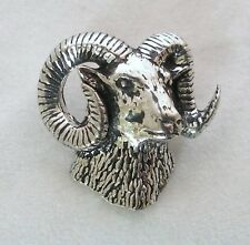 Ram's Head Pin Badge in Fine English Pewter, Handmade in UK, mouflon, sheep (ab)