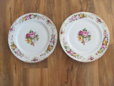 Rosenthal Queen Louise-Multi-colored Roses Gold Border- Set of 2 Dinner Plates