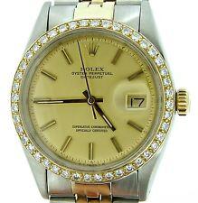 Rolex Datejust Mens 2Tone 14k Gold Steel Watch Champagne 1ct Diamond Bezel 1601