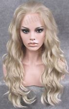 """Front lace 24"""" ash blonde long water wave wavy top quality fashion wig for women"""