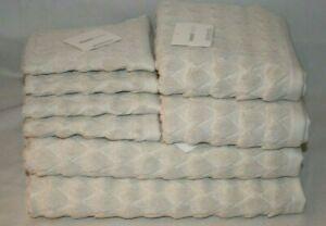 Kassa Moda Eight Piece Light Gray Stripes Bathroom Towel Set 100% Cotton New