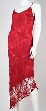 NICOWA Häkelkleid 38 rot Netz Spinnennetz Kleid Viskose Rubinrot asymmetrisch