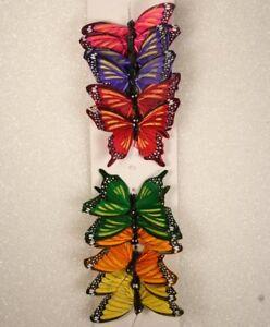 """12 Piece Lot Artificial Butterflies 3"""" 6 Color Assortment #12003024029"""