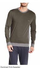 New Authentic Hugo Boss Black Label Men's Sweater Olive Green Logo Medium M $275