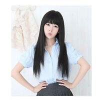 Women Girl Beautiful Neat Bang Long Straight Hair Wig For Cosplay Costume Party