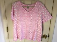 Woman's Chico's plus size 4 pink v neck short sleeve cotton blend top