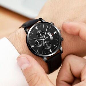 Casual Wrist Watches Men's Leather Date Quartz Analog