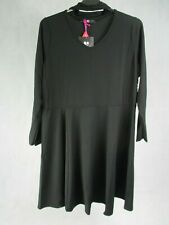 V by Very Dress UK Size 22 Black Choker Neck Long Sleeve A Line Dress BNWT